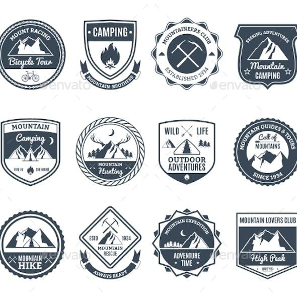 Mountain Adventure Emblems Black