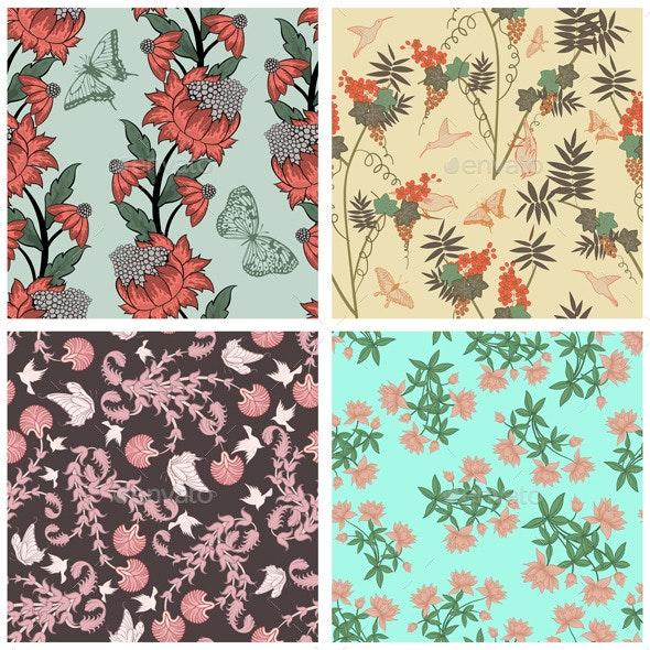 Seamless Floral Pattern Set - Patterns Decorative