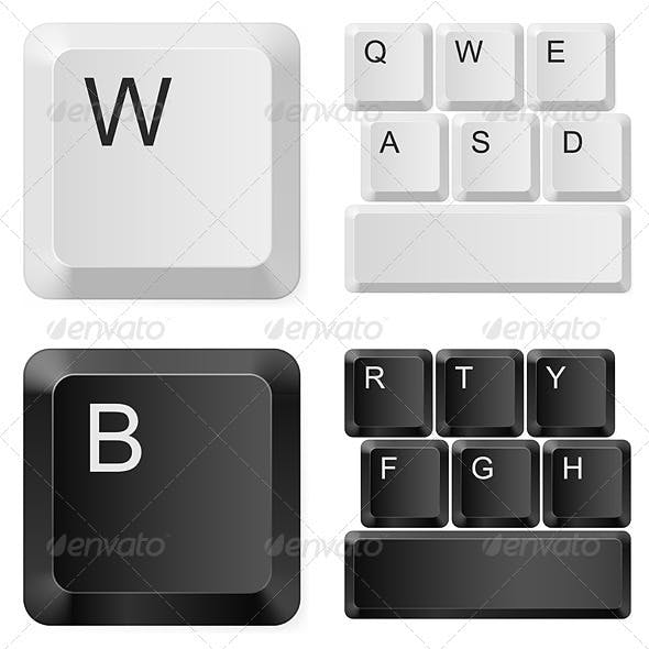 White and black computer keys.