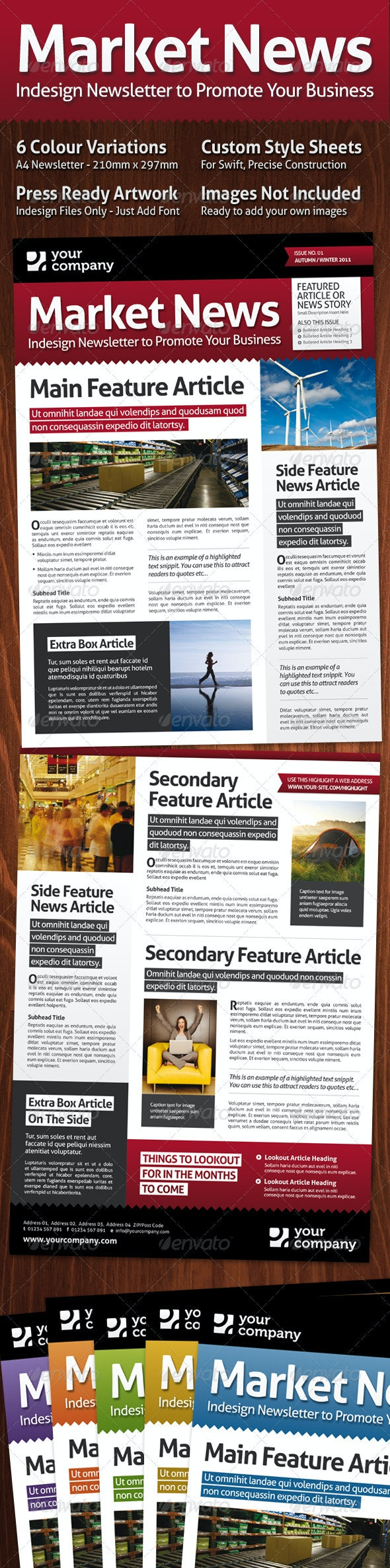 Market News, A4 Magazine Style Newsletter - Newsletters Print Templates