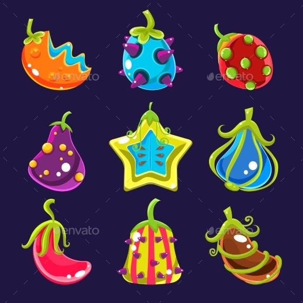 Set of Colorful Fantasy Fruits