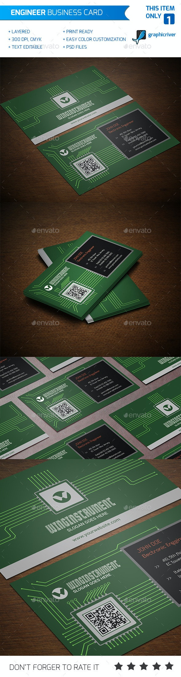 Engineer Business Card - Industry Specific Business Cards