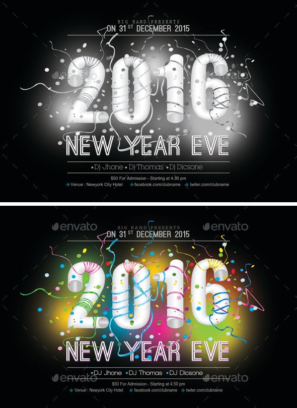 2016 New Year Flyer Template 1 - Events Flyers