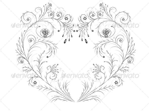 Floral heart - Flourishes / Swirls Decorative