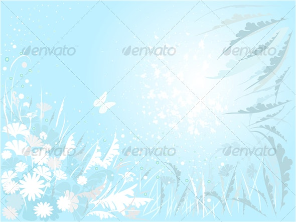 Floral Background in Blue - Backgrounds Decorative