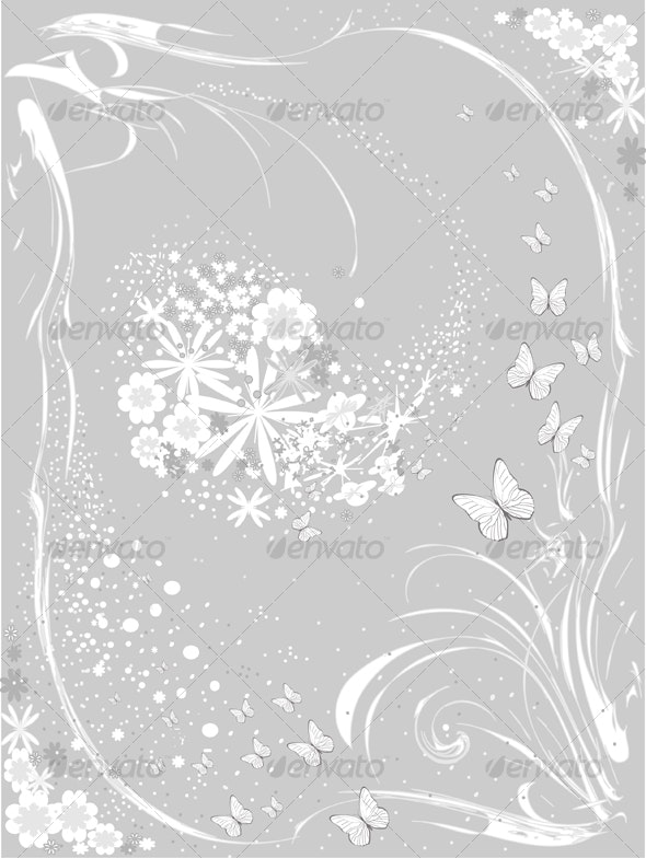 Flower background in Grey - Backgrounds Decorative
