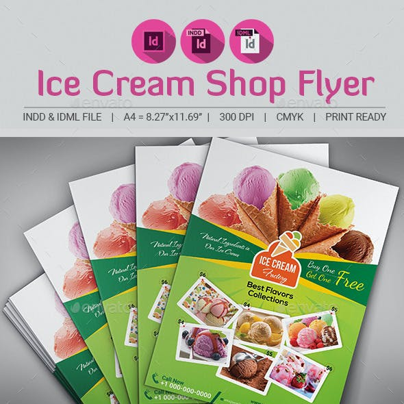 Ice Cream Shop Flyer Template V2