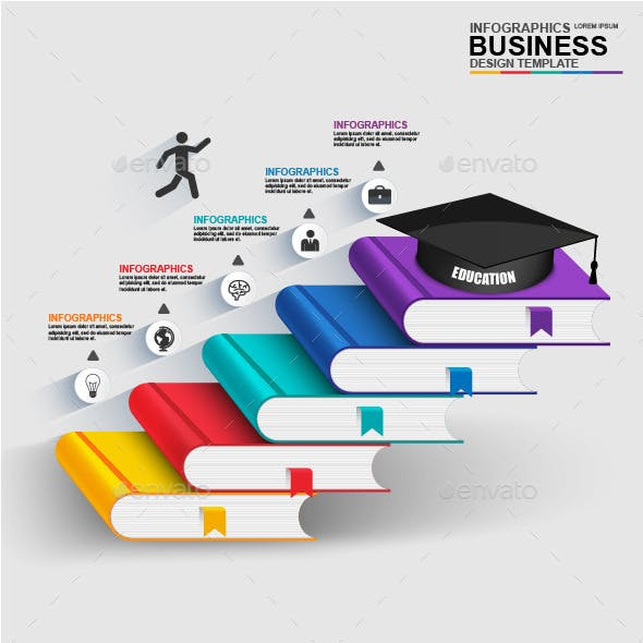 Abstract 3D digital business education Infographic
