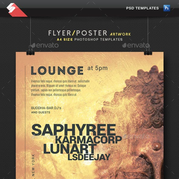Buddha Lounge - Chillout Event Flyer Template A4