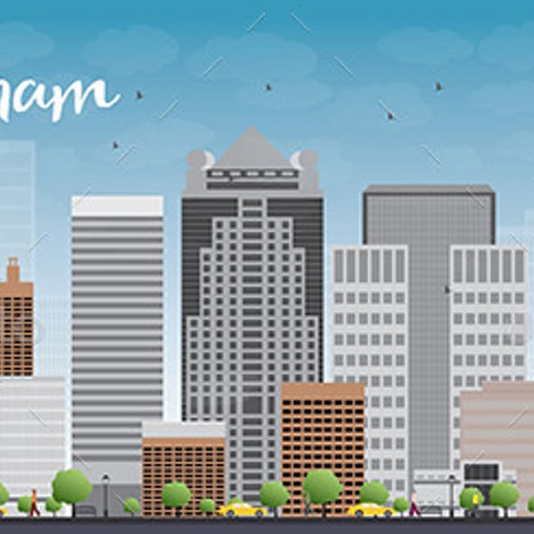 Birmingham Alabama Skyline with Grey Buildings