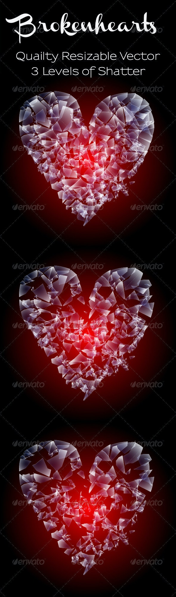 Shattered Heart Vector - Valentines Seasons/Holidays