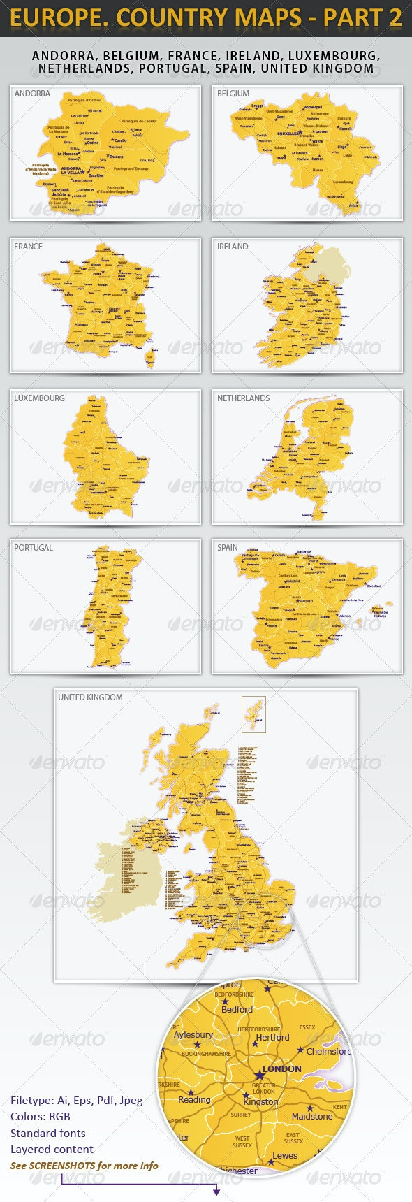 Europe. Country maps - part 2 - Miscellaneous Vectors