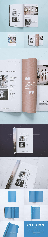 5 Magazine Mockups Templates - Magazines Print