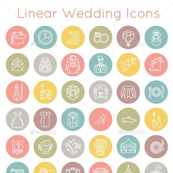 Flat Linear Wedding Icons