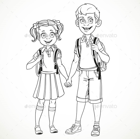 Boy and Girl with a School Bag Holding Hands - People Characters