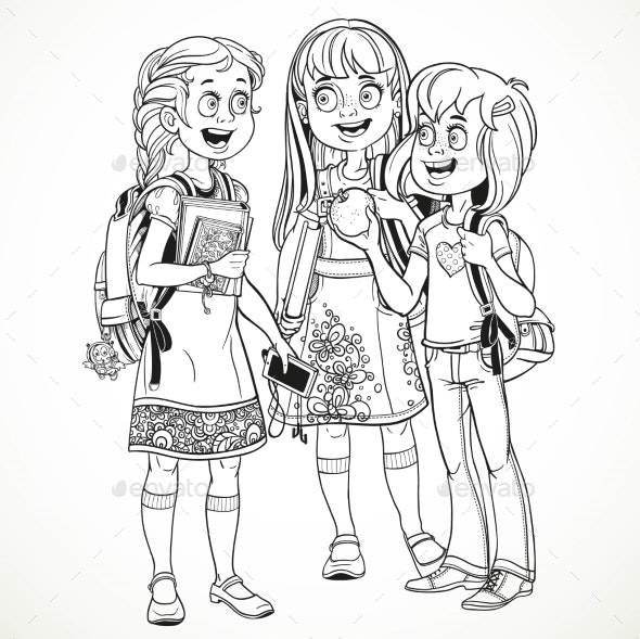 Three Schoolgirl with a Schoolbag Socialize - People Characters
