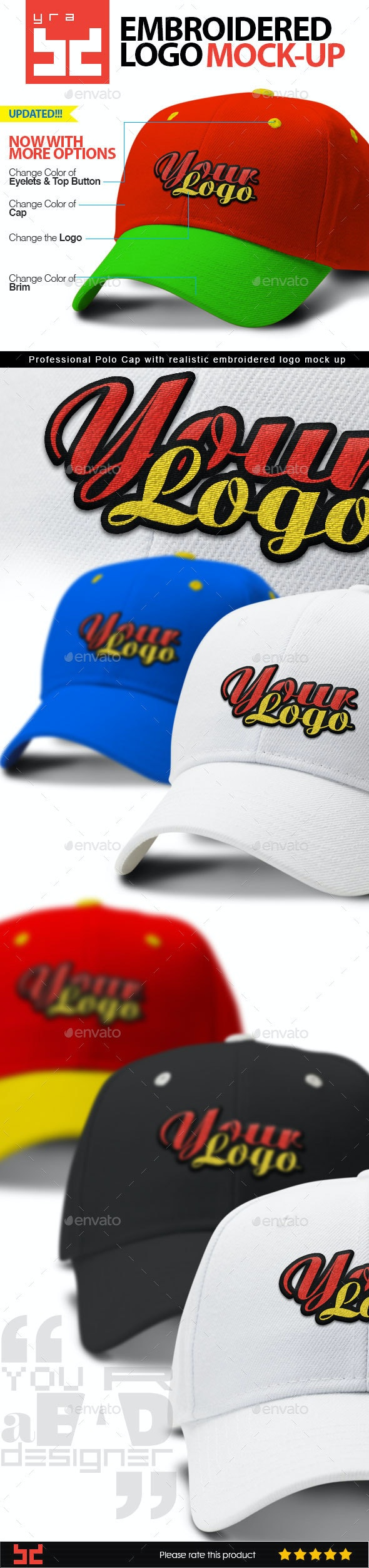 Polo Cap Mock-up with Embroidered Logo - Apparel Product Mock-Ups