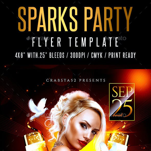 Sparks Party Flyer Template