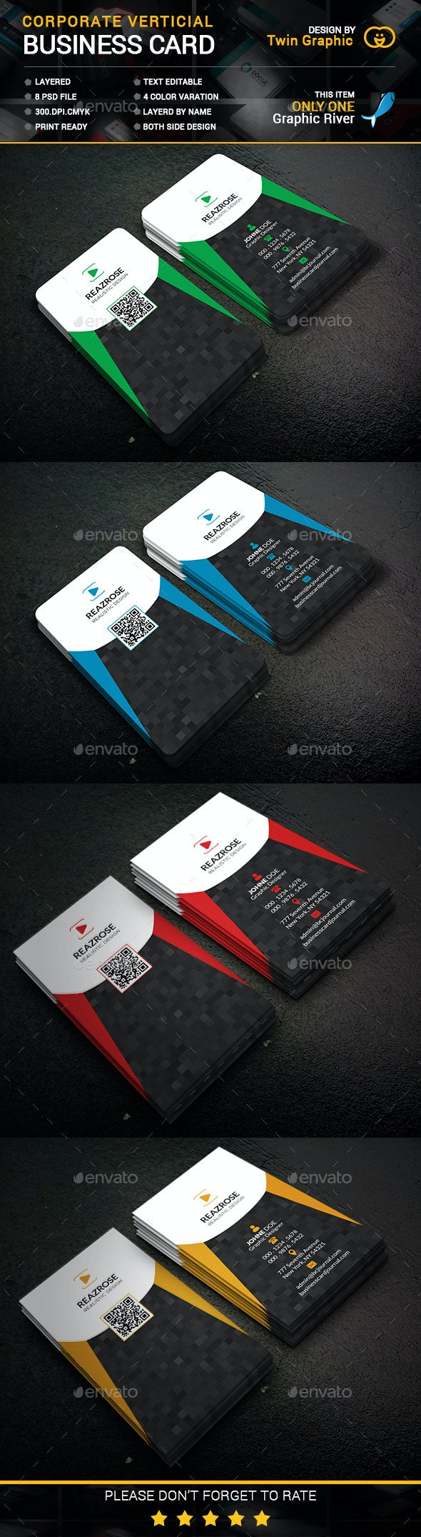 Corporate vertical Business Card design. - Business Cards Print Templates