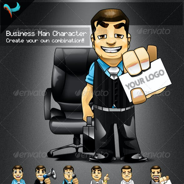 Animatable Business Man Cartoon Character Kit