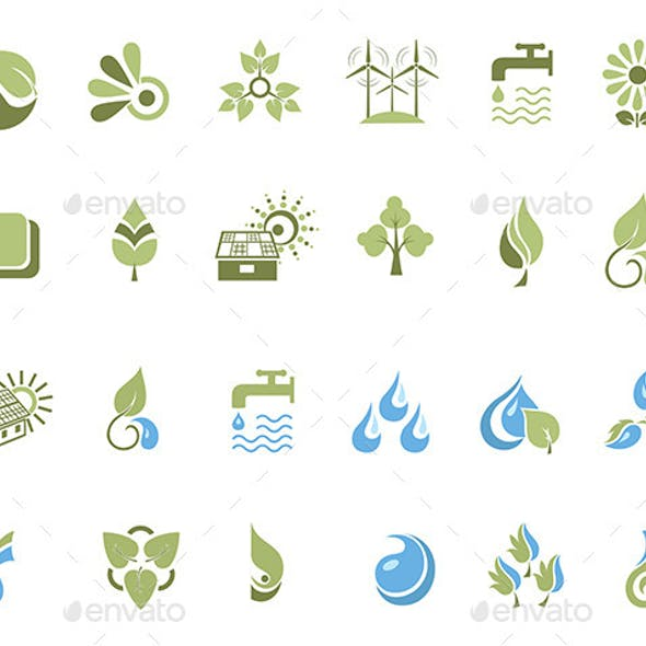 Set of Design Elements, Nature Icons and Logos.