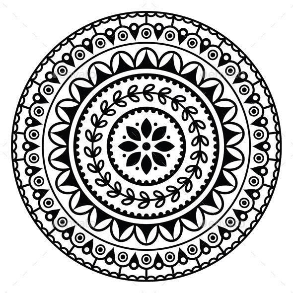 Mandala, Indian Inspired Round Geometric Pattern by