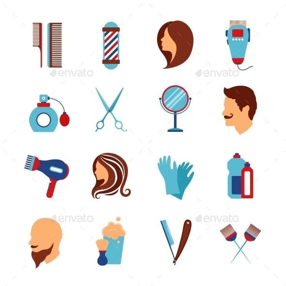Barbershop Hairdresser Flat Icons Set