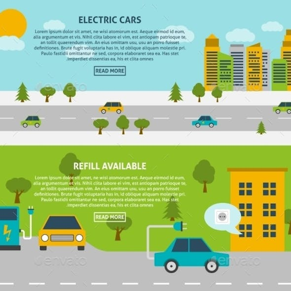 Electric Car Banner Set