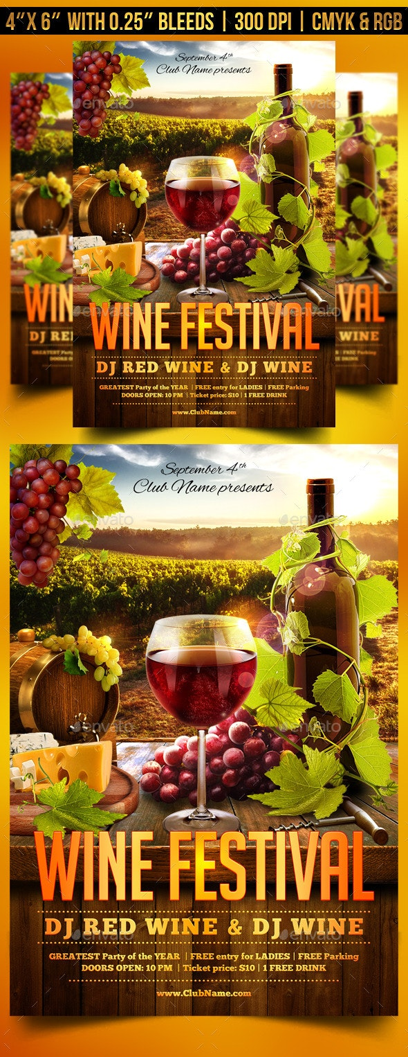 Wine Festival Flyer Template - Clubs & Parties Events