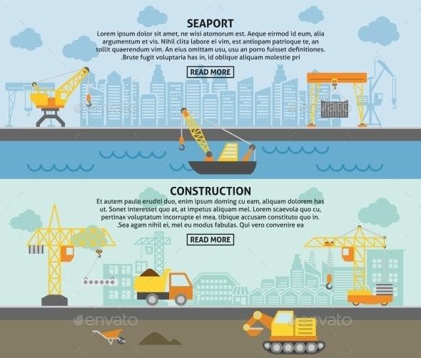 Building Construction Crane Flat Banners Set - Technology Conceptual