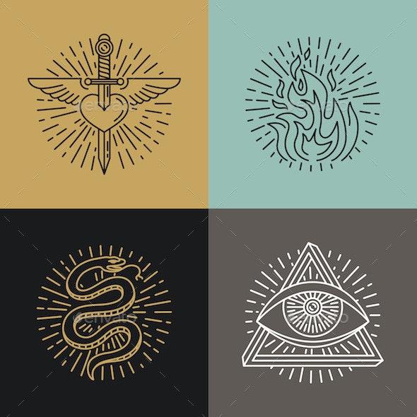 Linear Tattoo Icons - Conceptual Vectors
