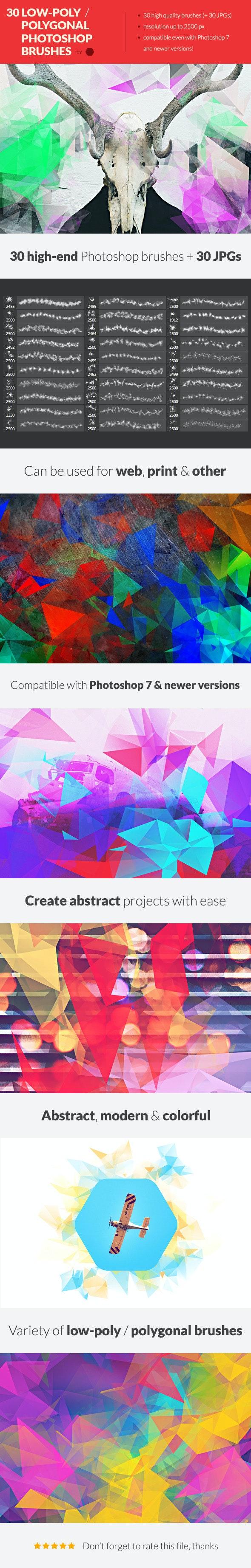 30 Low-Poly / Polygonal Photoshop Brushes #2 - Brushes Photoshop