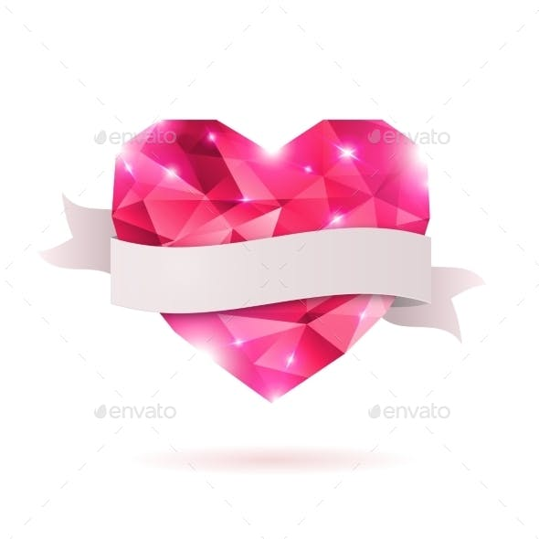 Pink Origami Heart On White Backdrop With Shadow.