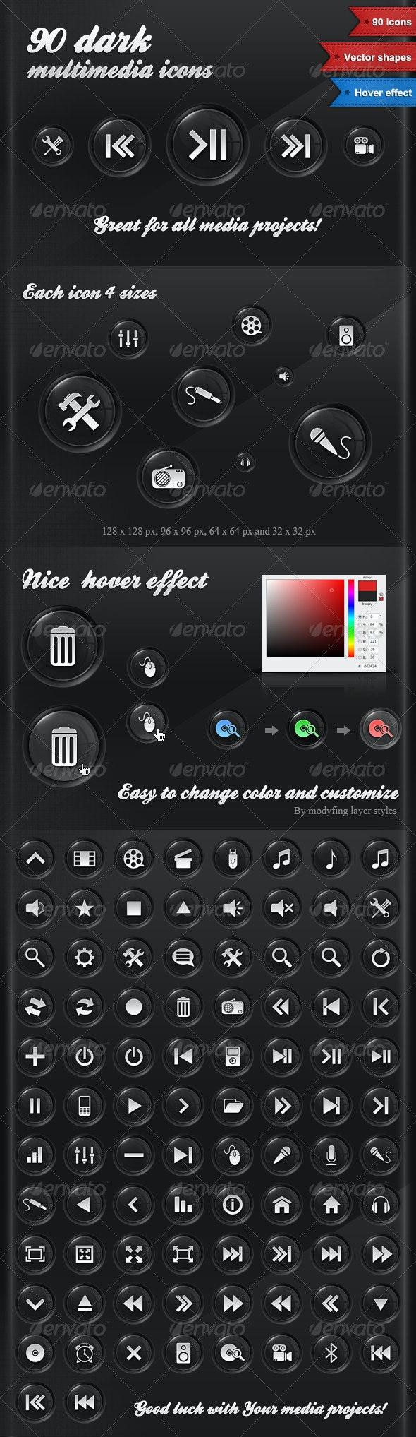 90 Dark Multimedia Icons - Media Icons