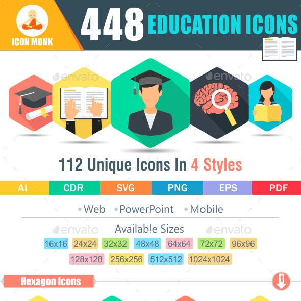 Education Flat Icon Pack