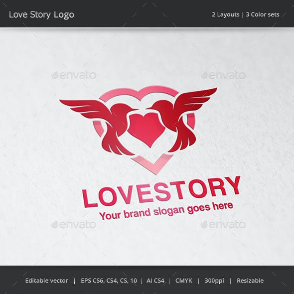 Love Story Bird Hearth Logo