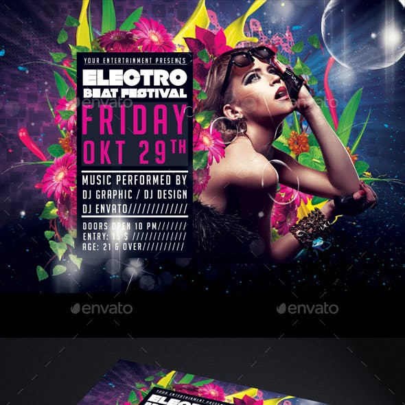 Electro Beat Flyer Template Horizontal