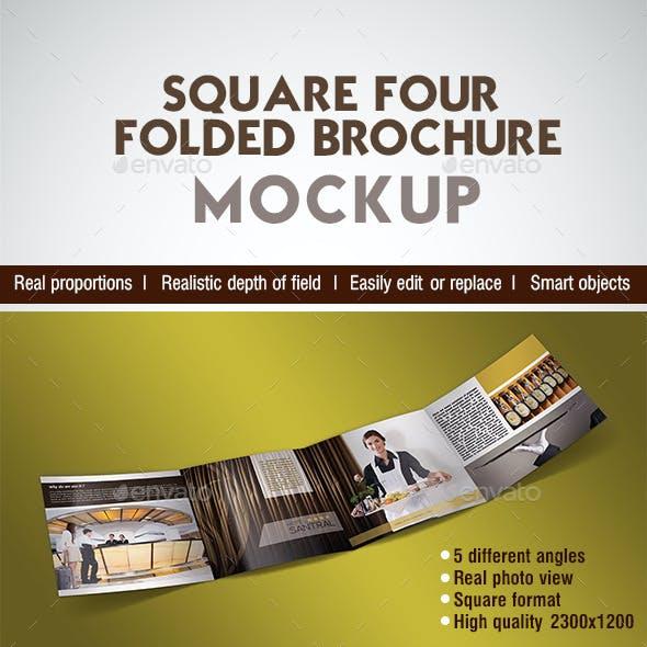 Square Four Folded Brochure Mockup