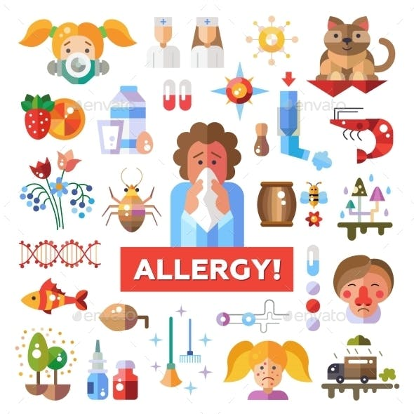 Set of Flat Design Allergy and Allergen Icons