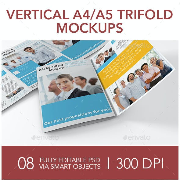 Vertical A4 or A5 Trifold Mockups