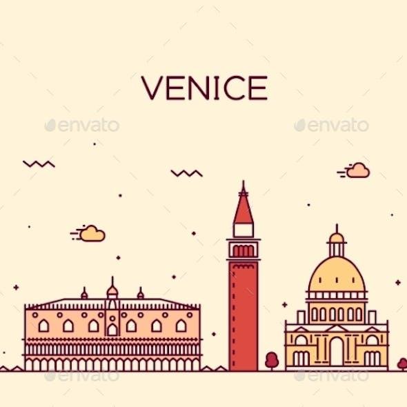 Venice Skyline Trendy Vector Illustration Linear