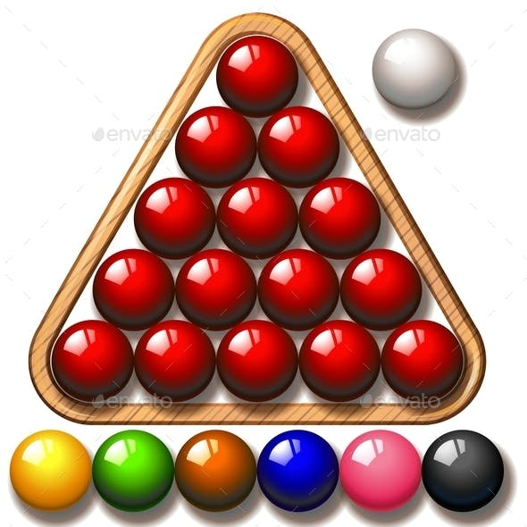 Snooker Balls in Triangle Frame
