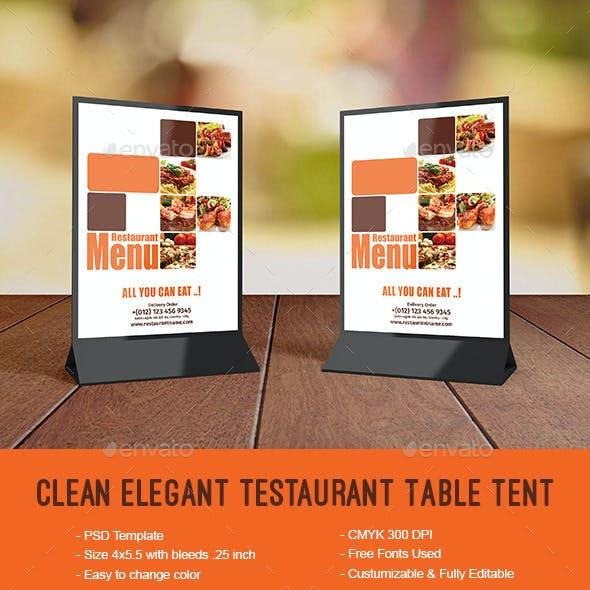 Clean Elegant Restaurant Table Tent