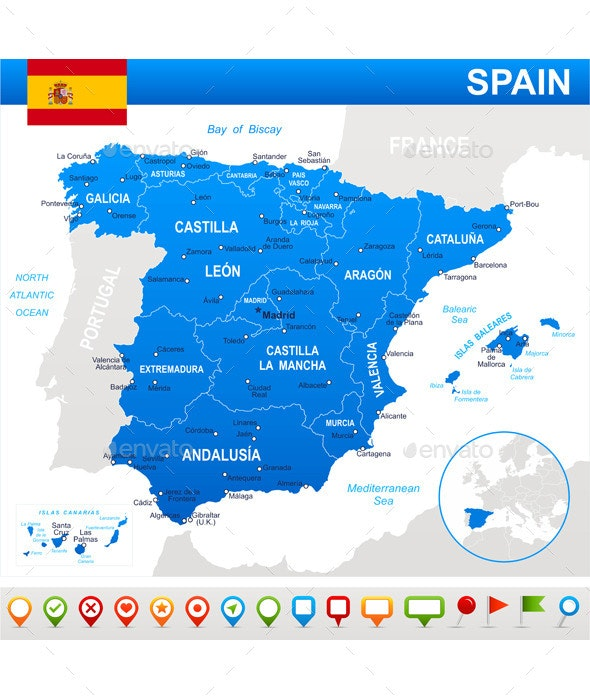 Map Of Spain To Label.Spain Map Flag And Navigation Icons By Dikobrazik Graphicriver