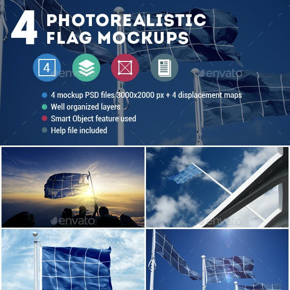 4 Photorealistic Flag Mockups