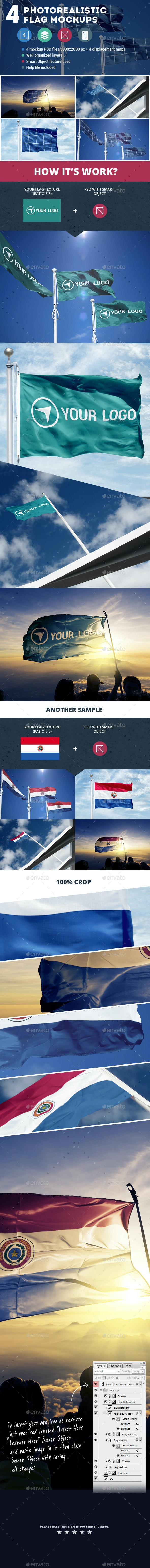 4 Photorealistic Flag Mockups - Miscellaneous Product Mock-Ups