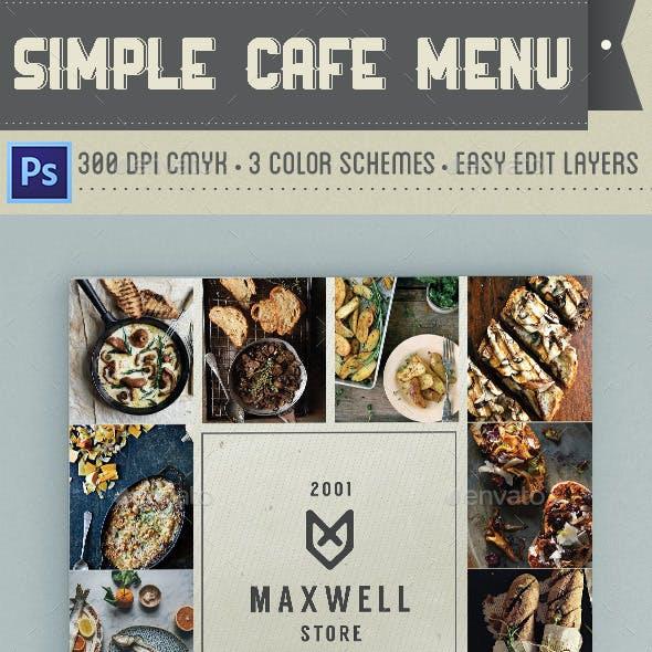 Simple Cafe Menu