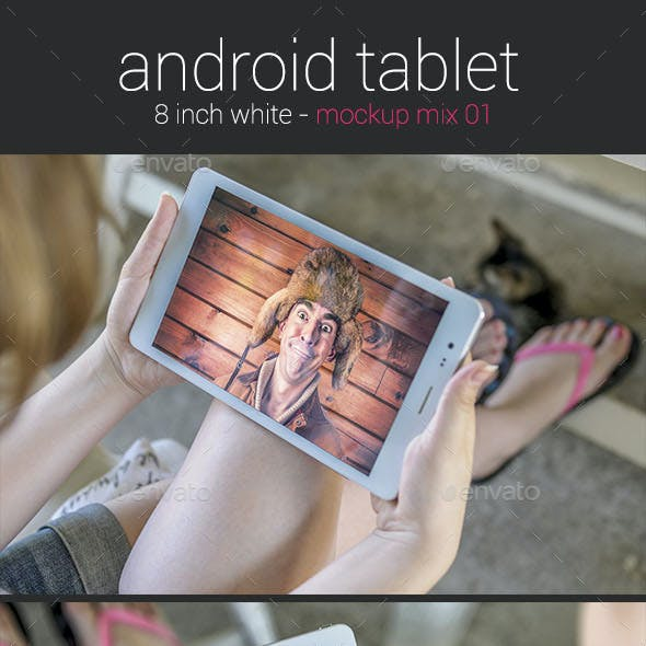 Girl Holding an Android Tablet - Mockup