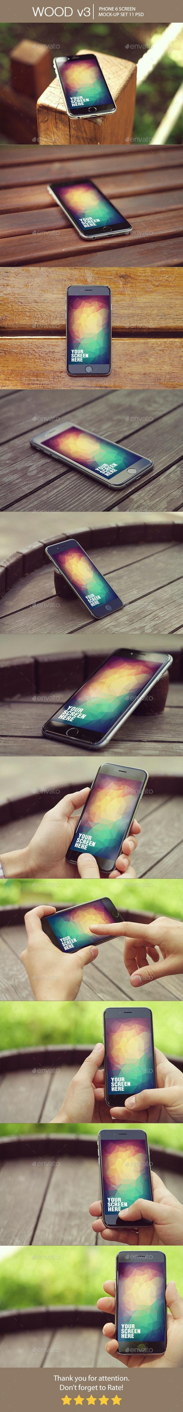 Wood v3 Phone 6 Mock-Up - Mobile Displays