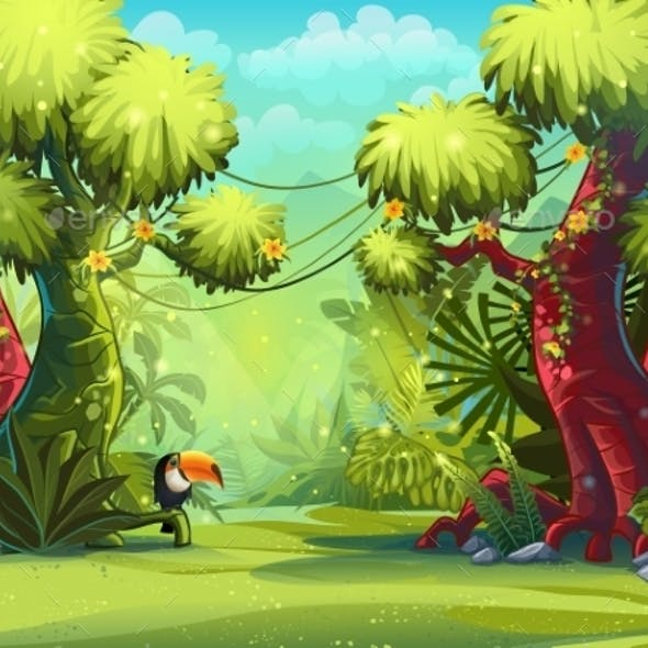 Illustration Sunny Morning in the Jungle with Bird